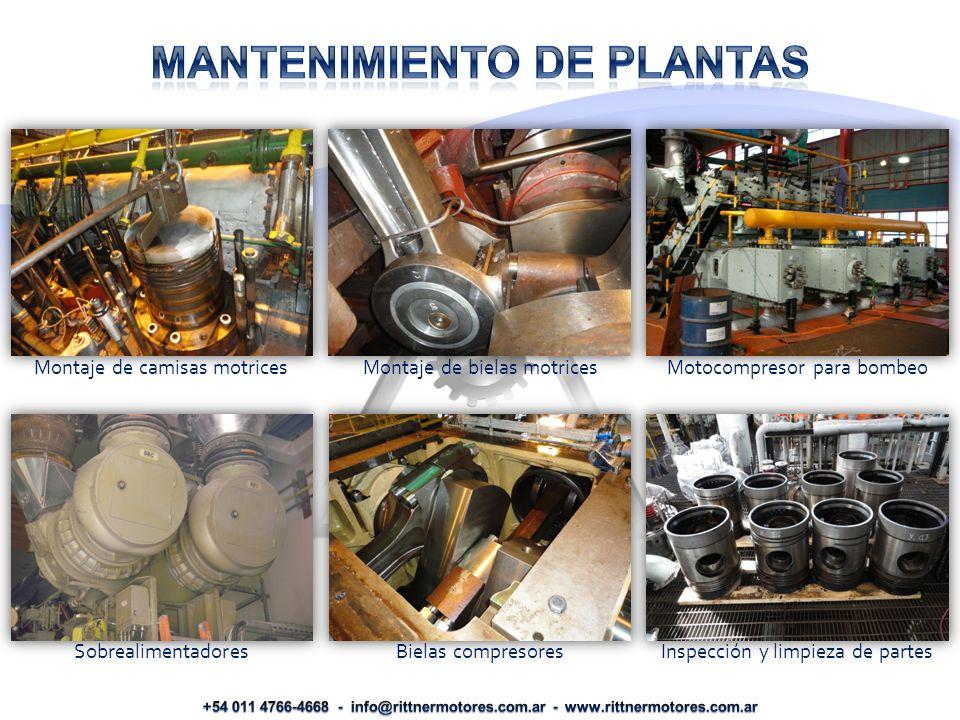 Montaje de camisas motrices Montaje de bielas motrices Motocompresor para bombeo Sobrealimentadores Bielas compresores Inspección y limpieza de partes
