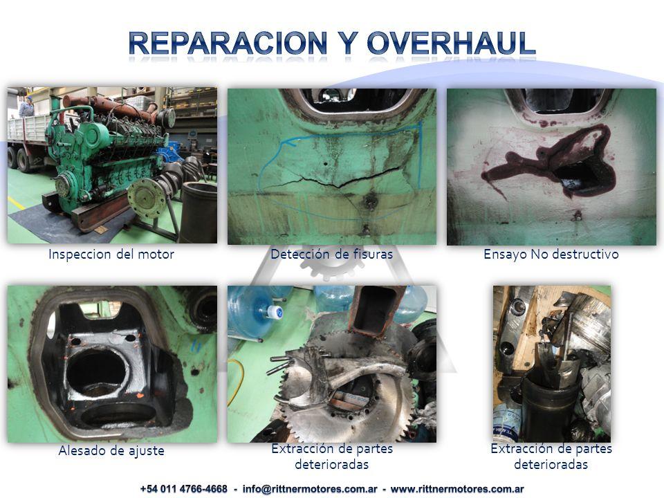 Inspeccion del motor Detección de fisuras Ensayo No destructivo Alesado de ajuste Extracción de partes deterioradas