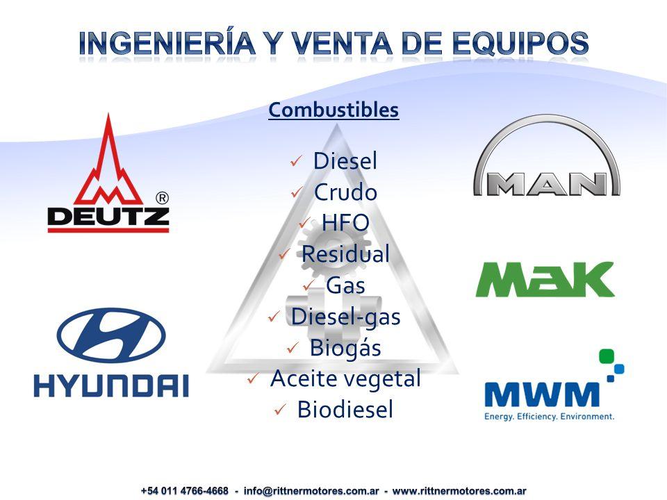 Diesel Crudo HFO Residual Gas Diesel-gas Biogás Aceite vegetal Biodiesel Combustibles