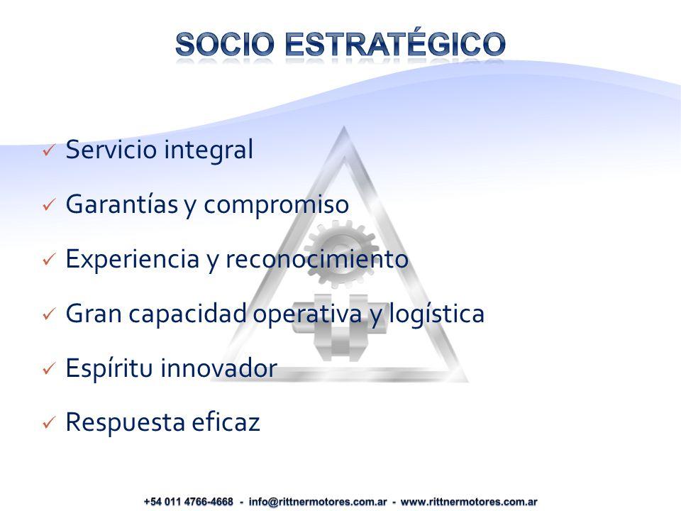 Servicio integral Garantías y compromiso Experiencia y reconocimiento Gran capacidad operativa y logística Espíritu innovador Respuesta eficaz