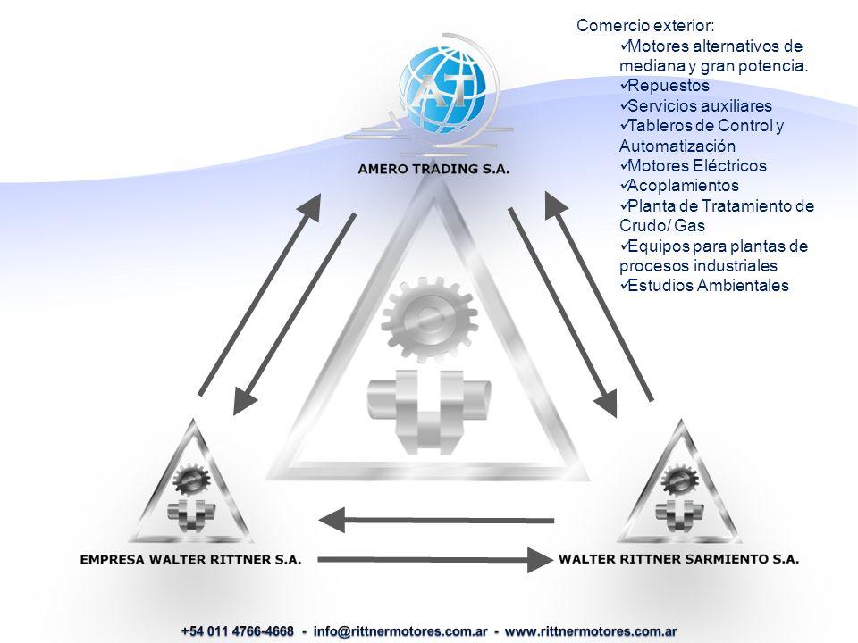 Comercio exterior: Motores alternativos de mediana y gran potencia.
