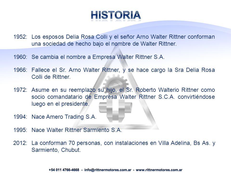 1952:Los esposos Delia Rosa Colli y el señor Arno Walter Rittner conforman una sociedad de hecho bajo el nombre de Walter Rittner.