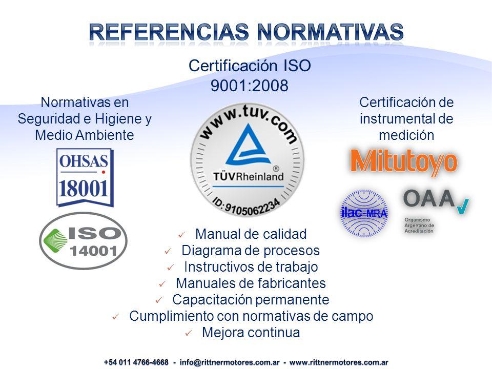 Certificación de instrumental de medición Certificación ISO 9001:2008 Manual de calidad Diagrama de procesos Instructivos de trabajo Manuales de fabricantes Capacitación permanente Cumplimiento con normativas de campo Mejora continua Normativas en Seguridad e Higiene y Medio Ambiente
