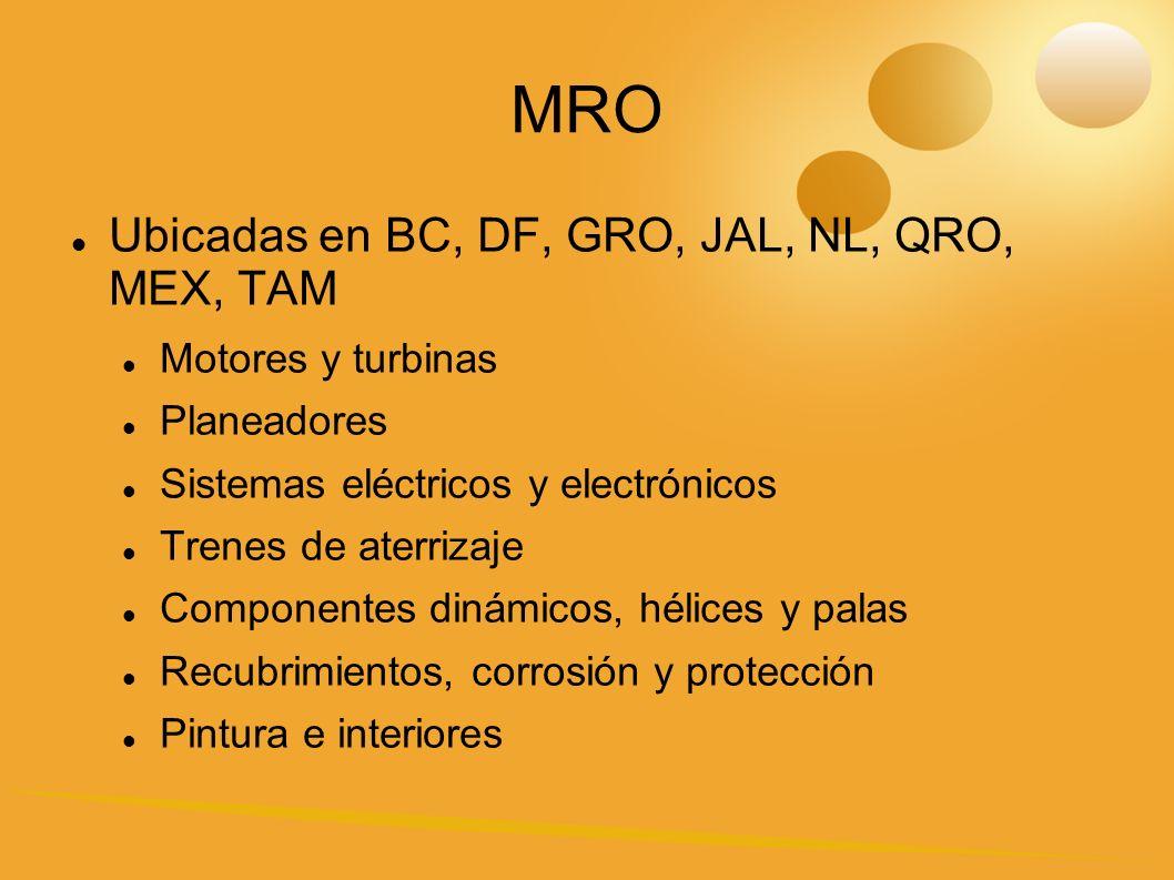 MRO Ubicadas en BC, DF, GRO, JAL, NL, QRO, MEX, TAM Motores y turbinas Planeadores Sistemas eléctricos y electrónicos Trenes de aterrizaje Componentes dinámicos, hélices y palas Recubrimientos, corrosión y protección Pintura e interiores