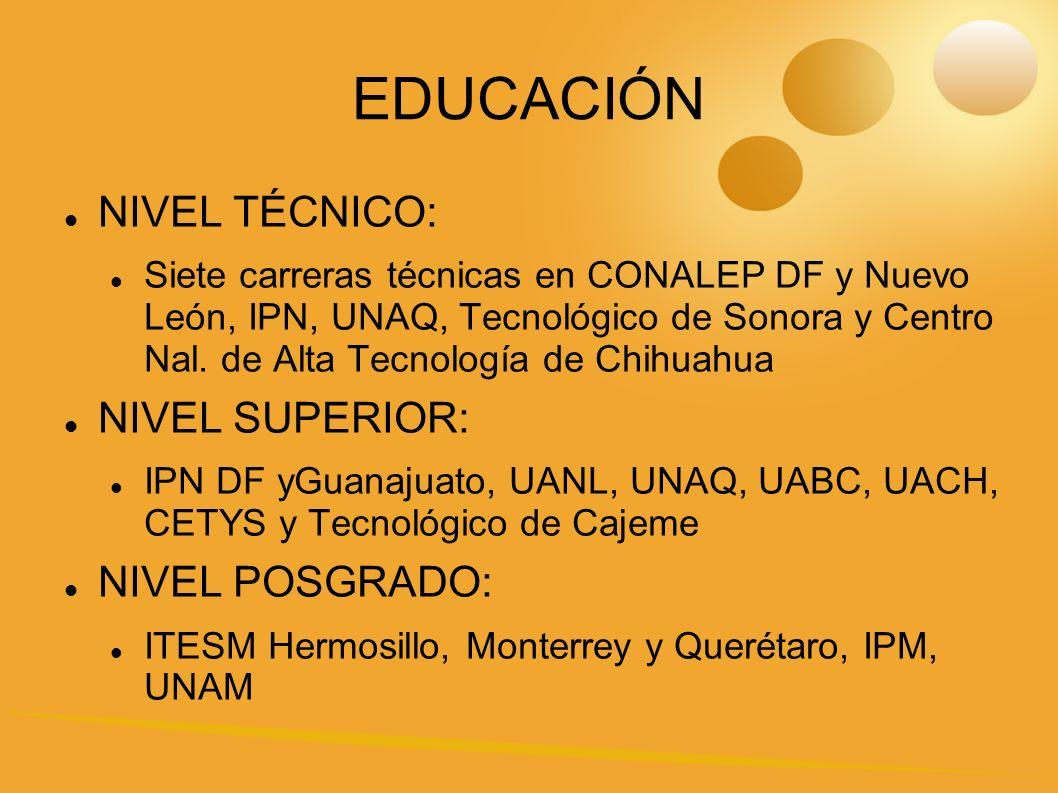 EDUCACIÓN NIVEL TÉCNICO: Siete carreras técnicas en CONALEP DF y Nuevo León, IPN, UNAQ, Tecnológico de Sonora y Centro Nal.