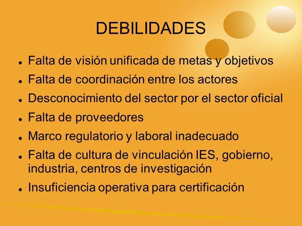 DEBILIDADES Falta de visión unificada de metas y objetivos Falta de coordinación entre los actores Desconocimiento del sector por el sector oficial Falta de proveedores Marco regulatorio y laboral inadecuado Falta de cultura de vinculación IES, gobierno, industria, centros de investigación Insuficiencia operativa para certificación