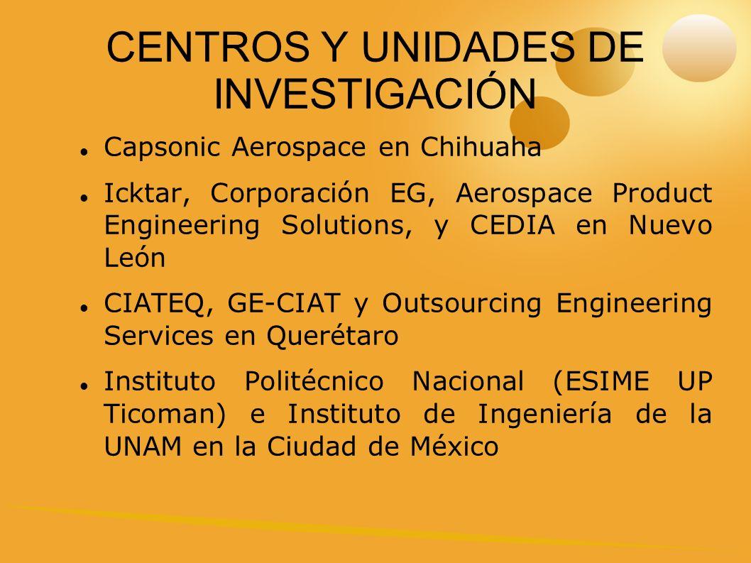 CENTROS Y UNIDADES DE INVESTIGACIÓN Capsonic Aerospace en Chihuaha Icktar, Corporación EG, Aerospace Product Engineering Solutions, y CEDIA en Nuevo León CIATEQ, GE-CIAT y Outsourcing Engineering Services en Querétaro Instituto Politécnico Nacional (ESIME UP Ticoman) e Instituto de Ingeniería de la UNAM en la Ciudad de México