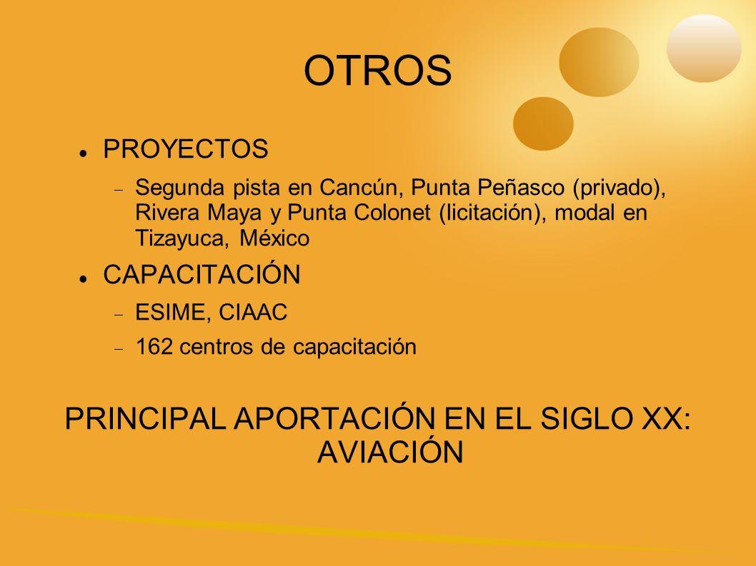 OTROS PROYECTOS Segunda pista en Cancún, Punta Peñasco (privado), Rivera Maya y Punta Colonet (licitación), modal en Tizayuca, México CAPACITACIÓN ESIME, CIAAC 162 centros de capacitación PRINCIPAL APORTACIÓN EN EL SIGLO XX: AVIACIÓN