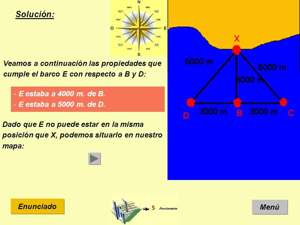 Solución: Menú Enunciado Veamos a continuación las propiedades que cumple el barco E con respecto a B y D: - E estaba a 4000 m.