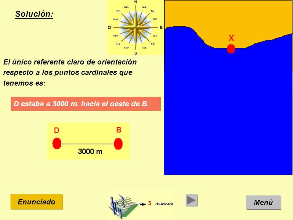 Solución: Menú Enunciado El único referente claro de orientación respecto a los puntos cardinales que tenemos es: D estaba a 3000 m.