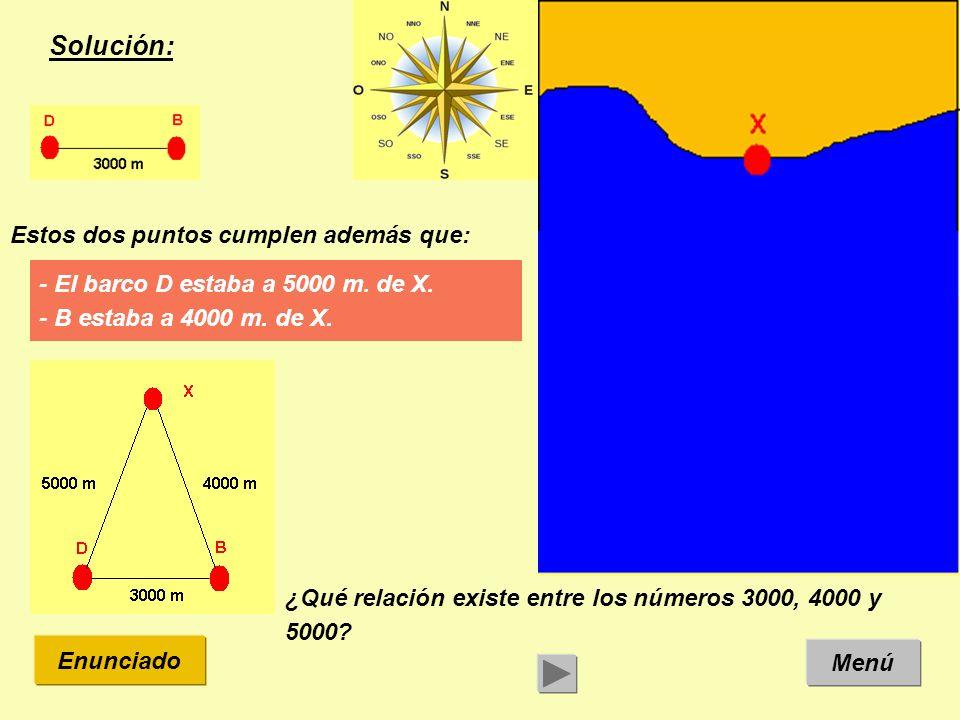 Solución: Menú Enunciado Estos dos puntos cumplen además que: - El barco D estaba a 5000 m.