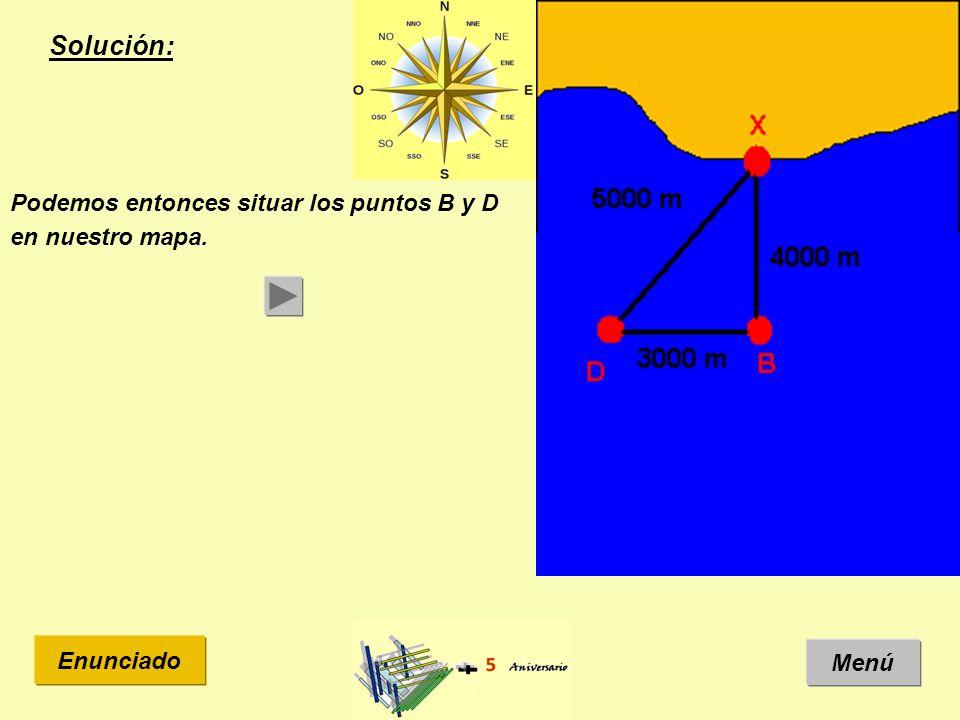Solución: Menú Enunciado Podemos entonces situar los puntos B y D en nuestro mapa.