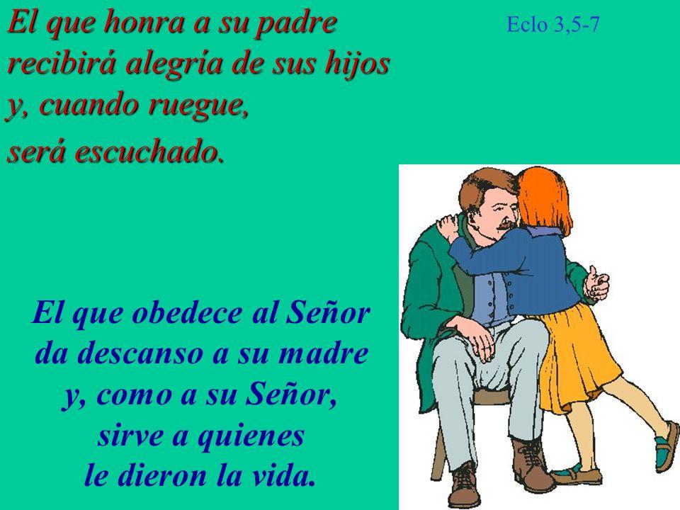 El que honra a su padre recibirá alegría de sus hijos y, cuando ruegue, será escuchado. El que honra a su padre Eclo 3,5-7 recibirá alegría de sus hij
