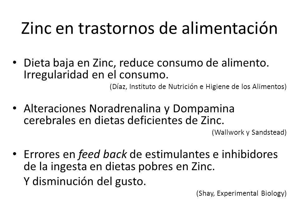 Zinc en trastornos de alimentación Dieta baja en Zinc, reduce consumo de alimento. Irregularidad en el consumo. (Díaz, Instituto de Nutrición e Higien