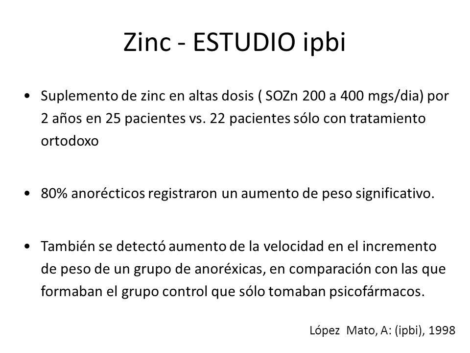 Zinc - ESTUDIO ipbi Suplemento de zinc en altas dosis ( SOZn 200 a 400 mgs/dia) por 2 años en 25 pacientes vs. 22 pacientes sólo con tratamiento ortod