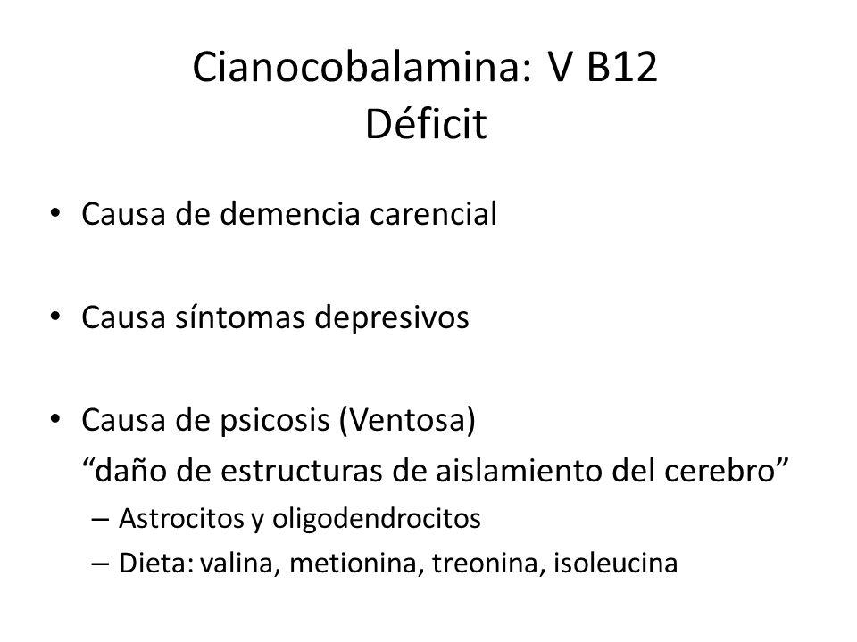 Causa de demencia carencial Causa síntomas depresivos Causa de psicosis (Ventosa) daño de estructuras de aislamiento del cerebro – Astrocitos y oligodendrocitos – Dieta: valina, metionina, treonina, isoleucina Cianocobalamina: V B12 Déficit