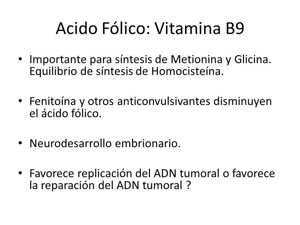 Acido Fólico: Vitamina B9 Importante para síntesis de Metionina y Glicina. Equilibrio de síntesis de Homocisteína. Fenitoína y otros anticonvulsivante