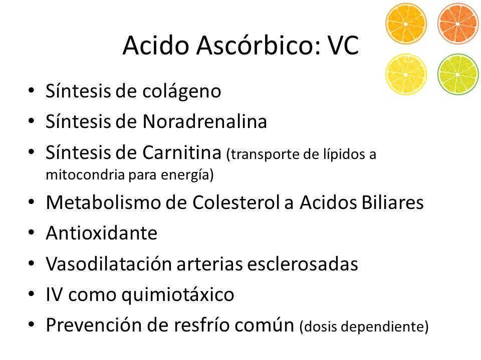 Síntesis de colágeno Síntesis de Noradrenalina Síntesis de Carnitina (transporte de lípidos a mitocondria para energía) Metabolismo de Colesterol a Acidos Biliares Antioxidante Vasodilatación arterias esclerosadas IV como quimiotáxico Prevención de resfrío común (dosis dependiente) Acido Ascórbico: VC