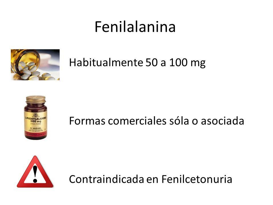 Habitualmente 50 a 100 mg Formas comerciales sóla o asociada Contraindicada en Fenilcetonuria