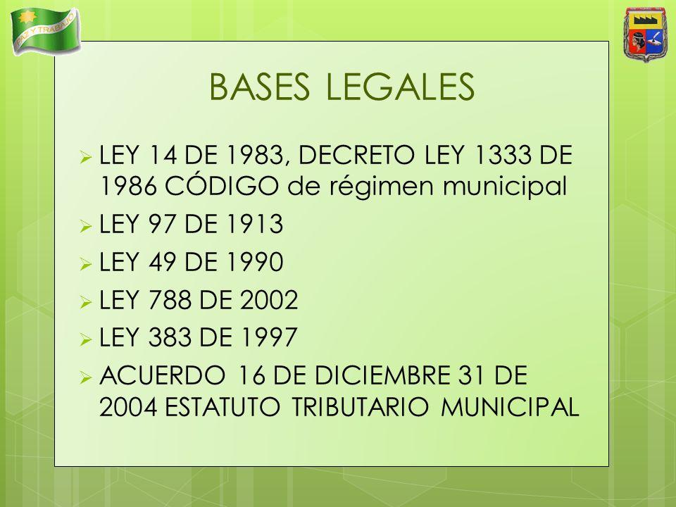 BASES LEGALES LEY 14 DE 1983, DECRETO LEY 1333 DE 1986 CÓDIGO de régimen municipal LEY 97 DE 1913 LEY 49 DE 1990 LEY 788 DE 2002 LEY 383 DE 1997 ACUER