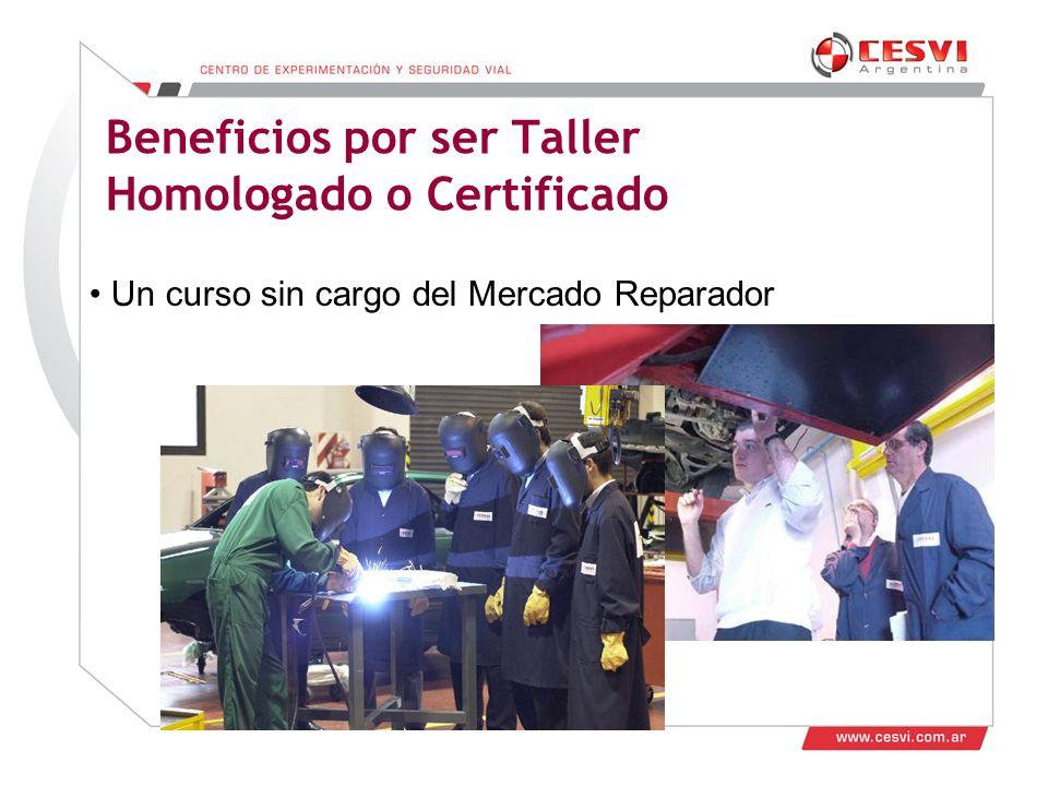 Desarrollo de Talleres 2011 Beneficios por ser Taller Homologado o Certificado Un curso sin cargo del Mercado Reparador