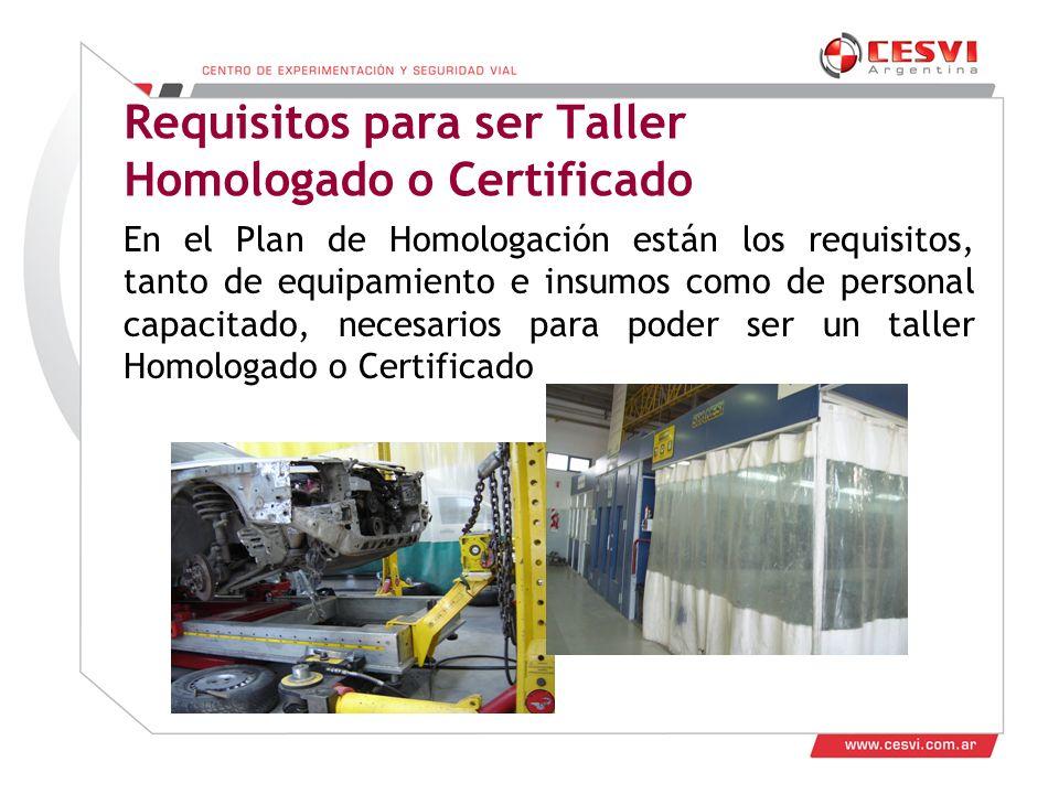 Desarrollo de Talleres 2011 Requisitos para ser Taller Homologado o Certificado En el Plan de Homologación están los requisitos, tanto de equipamiento e insumos como de personal capacitado, necesarios para poder ser un taller Homologado o Certificado