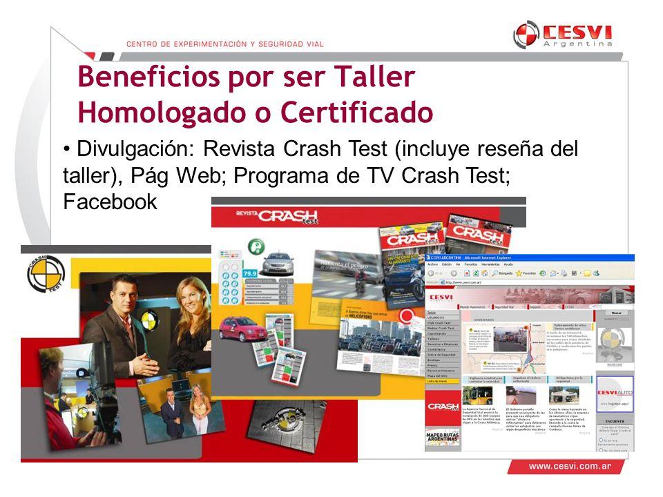 Desarrollo de Talleres 2011 Beneficios por ser Taller Homologado o Certificado Divulgación: Revista Crash Test (incluye reseña del taller), Pág Web; Programa de TV Crash Test; Facebook