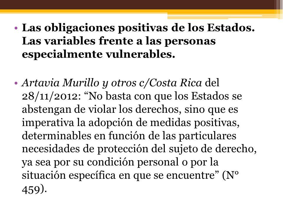 Las obligaciones positivas de los Estados. Las variables frente a las personas especialmente vulnerables. Artavia Murillo y otros c/Costa Rica del 28/