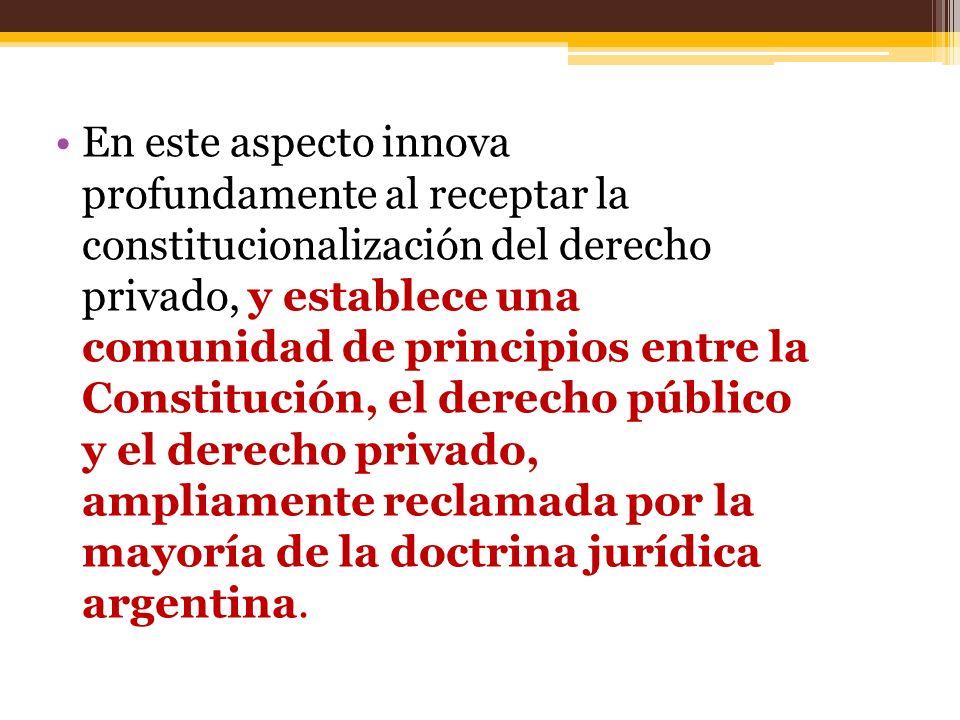 En este aspecto innova profundamente al receptar la constitucionalización del derecho privado, y establece una comunidad de principios entre la Constitución, el derecho público y el derecho privado, ampliamente reclamada por la mayoría de la doctrina jurídica argentina.