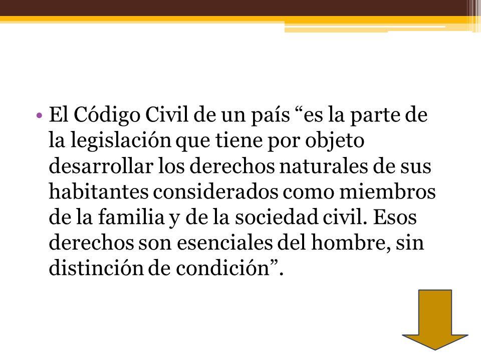El Código Civil de un país es la parte de la legislación que tiene por objeto desarrollar los derechos naturales de sus habitantes considerados como m