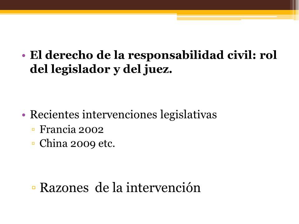 El derecho de la responsabilidad civil: rol del legislador y del juez. Recientes intervenciones legislativas Francia 2002 China 2009 etc. Razones de l