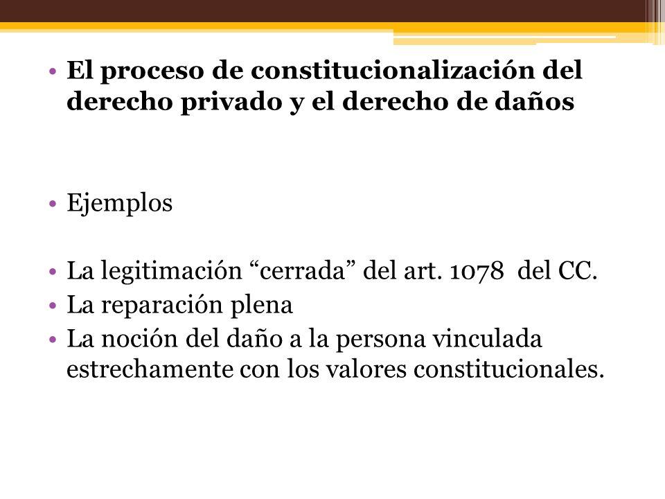 El proceso de constitucionalización del derecho privado y el derecho de daños Ejemplos La legitimación cerrada del art. 1078 del CC. La reparación ple