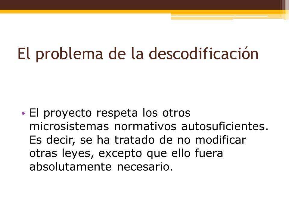El problema de la descodificación El proyecto respeta los otros microsistemas normativos autosuficientes.