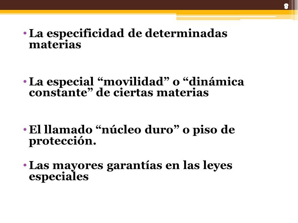 La especificidad de determinadas materias La especial movilidad o dinámica constante de ciertas materias El llamado núcleo duro o piso de protección.