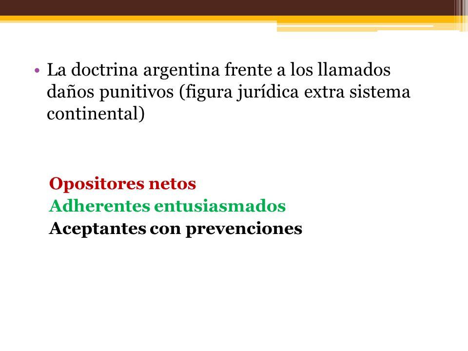 La doctrina argentina frente a los llamados daños punitivos (figura jurídica extra sistema continental) Opositores netos Adherentes entusiasmados Aceptantes con prevenciones