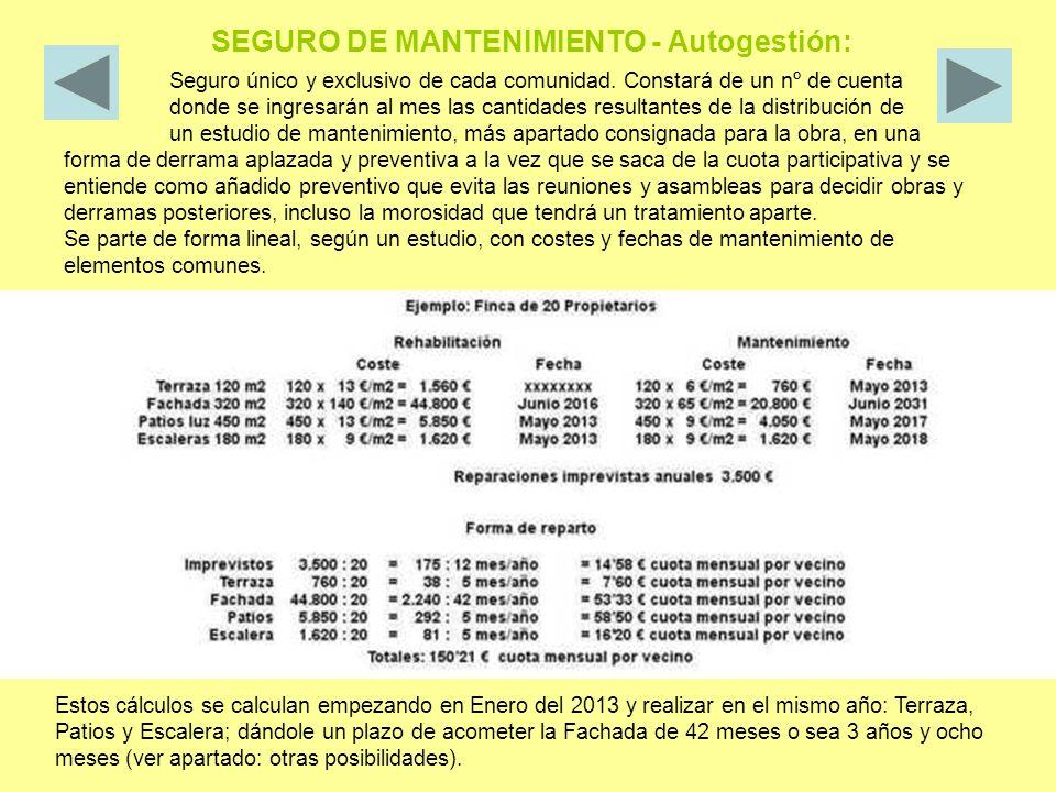 SEGURO DE MANTENIMIENTO - Autogestión: Seguro único y exclusivo de cada comunidad.