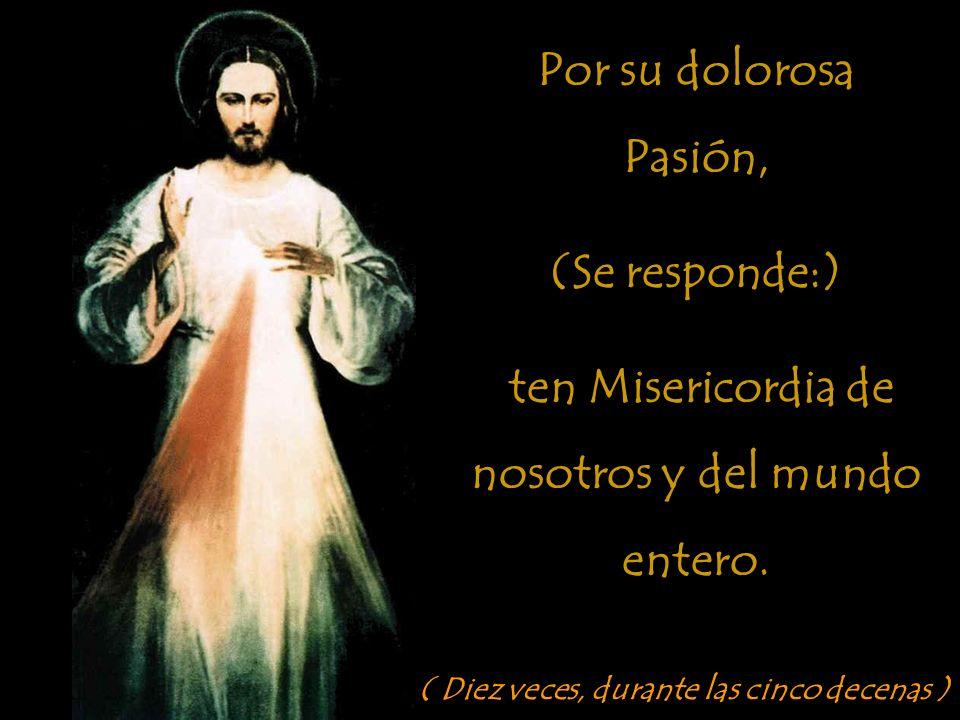 Padre Eterno, te ofrezco el Cuerpo y la Sangre, el Alma y la Divinidad de tu amadísimo Hijo, Nuestro Señor Jesucristo, (Se responde:)...en reparación