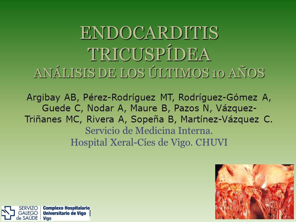La válvula tricuspídea es la más afectada dentro de las endocarditis de corazón derecho (ECD), asociándose normalmente a pacientes portadores de dispositivos intracardiacos y a adictos a drogas por vía parenteral (ADVP).