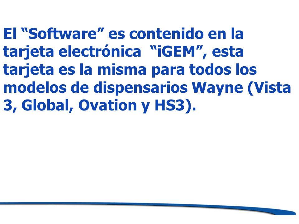 El Software es contenido en la tarjeta electrónica iGEM, esta tarjeta es la misma para todos los modelos de dispensarios Wayne (Vista 3, Global, Ovati