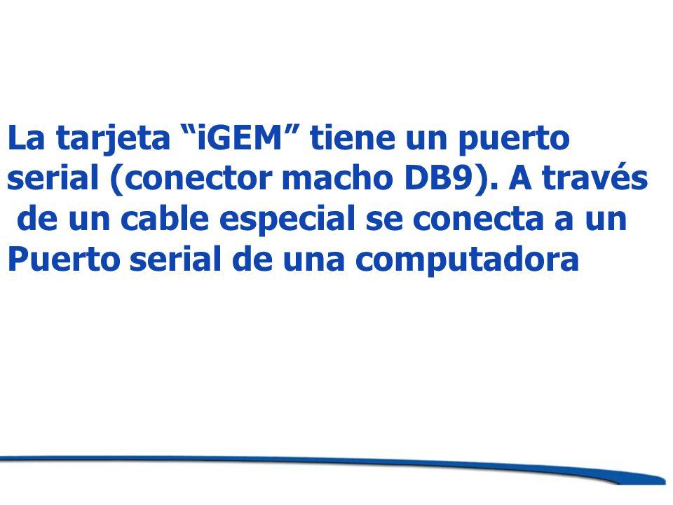 La tarjeta iGEM tiene un puerto serial (conector macho DB9). A través de un cable especial se conecta a un Puerto serial de una computadora