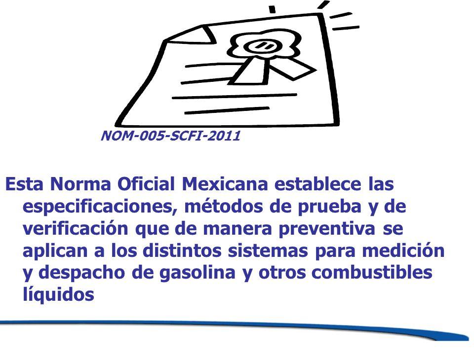 NOM-005-SCFI-2011 Esta Norma Oficial Mexicana establece las especificaciones, métodos de prueba y de verificación que de manera preventiva se aplican