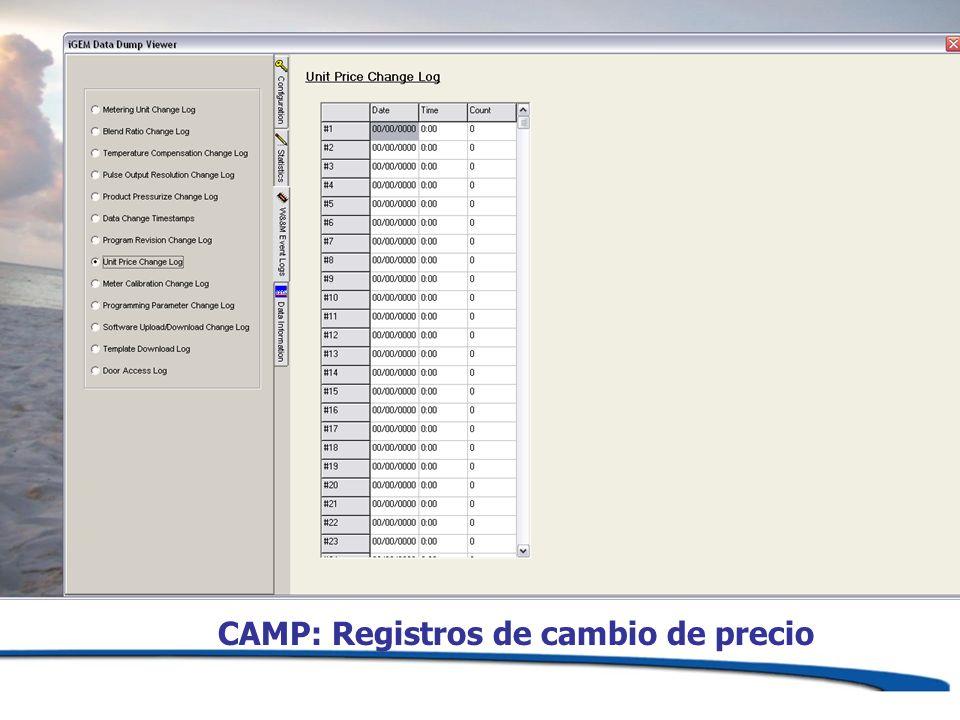 CAMP: Registros de cambio de precio