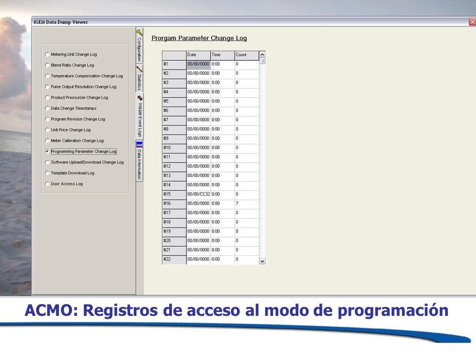 ACMO: Registros de acceso al modo de programación