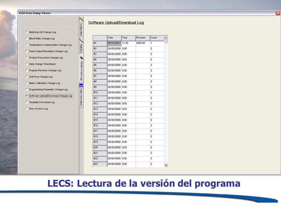 LECS: Lectura de la versión del programa