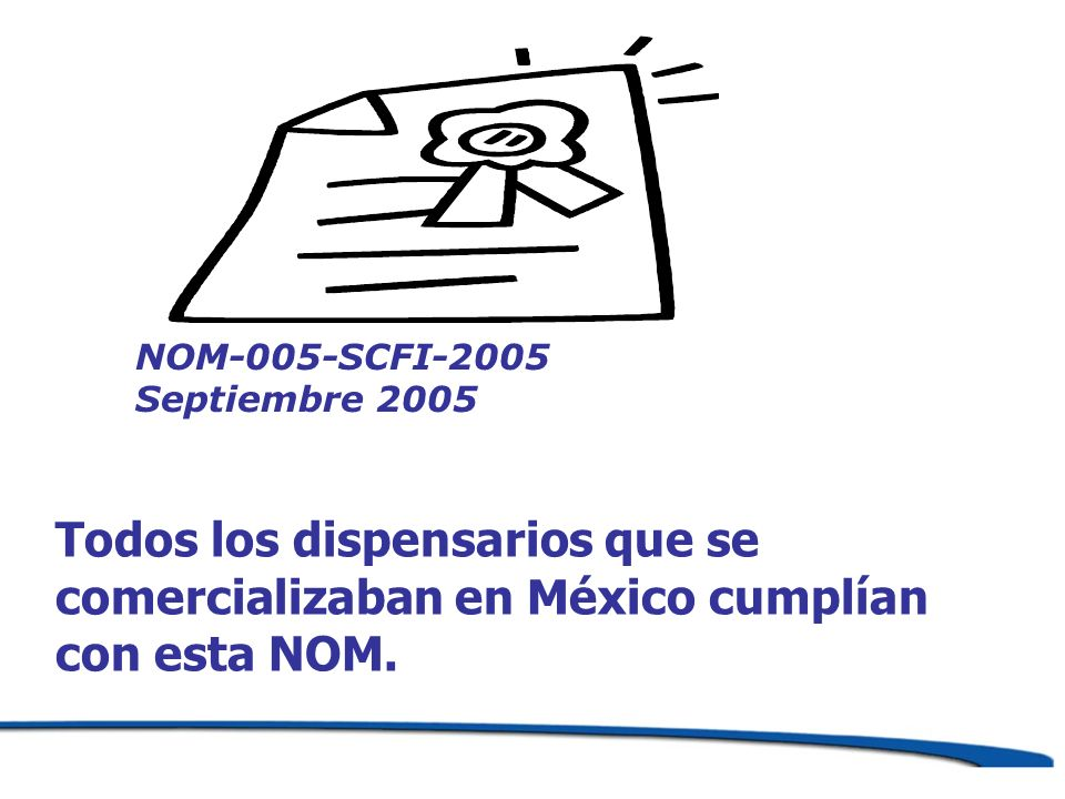Todos los dispensarios que se comercializaban en México cumplían con esta NOM. NOM-005-SCFI-2005 Septiembre 2005