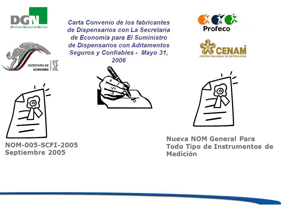 NOM-005-SCFI-2005 Septiembre 2005 Carta Convenio de los fabricantes de Dispensarios con La Secretaria de Economía para El Suministro de Dispensarios c