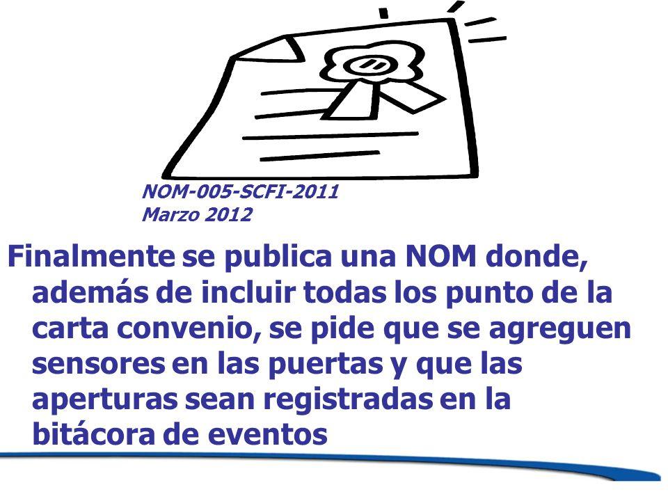 NOM-005-SCFI-2011 Marzo 2012 Finalmente se publica una NOM donde, además de incluir todas los punto de la carta convenio, se pide que se agreguen sens