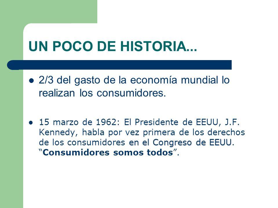 UN POCO DE HISTORIA...2/3 del gasto de la economía mundial lo realizan los consumidores.