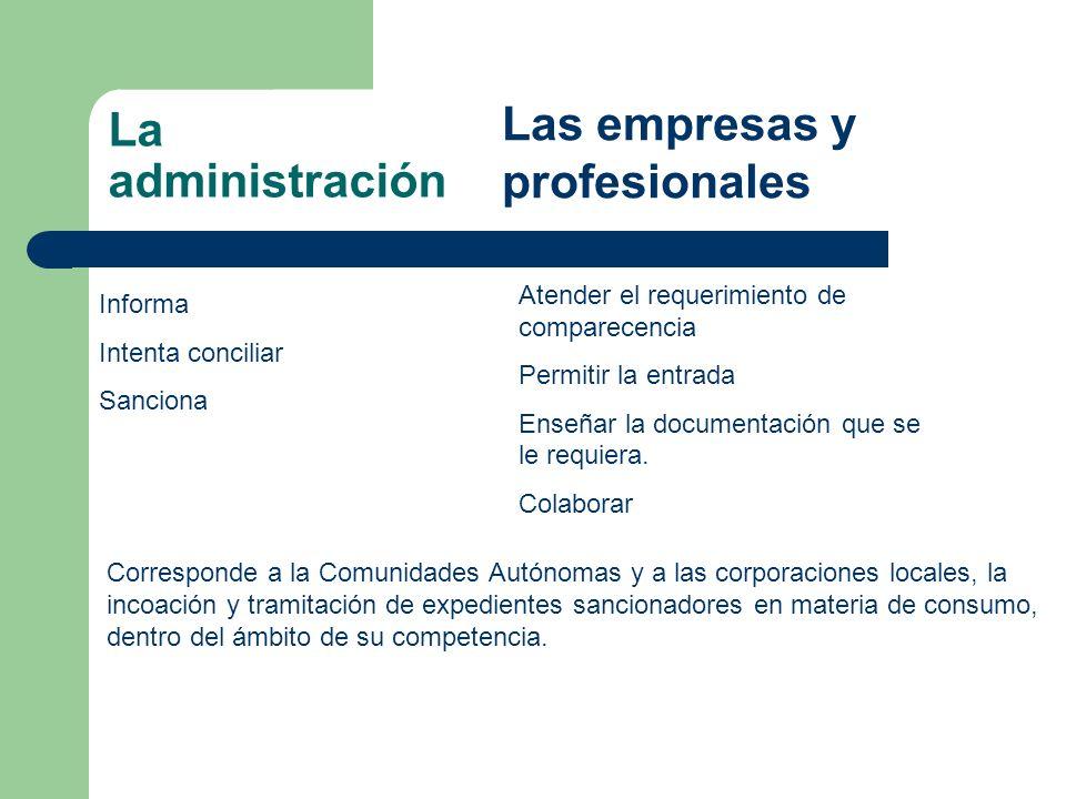 La administración Informa Intenta conciliar Sanciona Las empresas y profesionales Atender el requerimiento de comparecencia Permitir la entrada Enseñar la documentación que se le requiera.