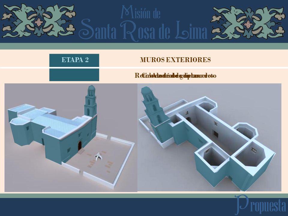 S anta R osa de L ima M isión de P ropuesta ETAPA 2MUROS EXTERIORES Atado de grietasColocación de aplanadosRetiro de trabes de concreto